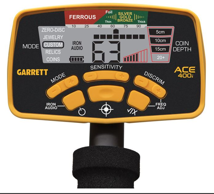 Display van Garrett ACE 400i metaaldetector